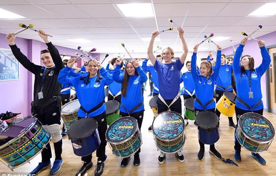 Everton star Tom Davies drums with KATUMBA, Liverpool.