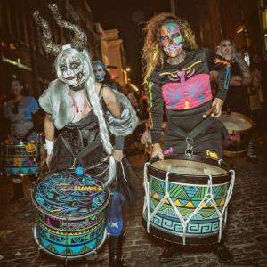 women halloween drummers