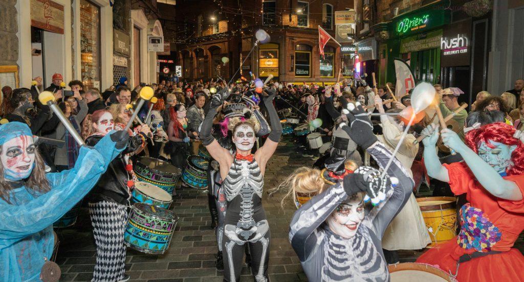 halloween street drumming carnival band